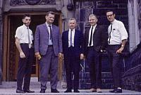 1968 East Block entrance    L-R Hugh Elliott, Stan Dabrowski,John Clark, Stan Fockner, Jim Rogers